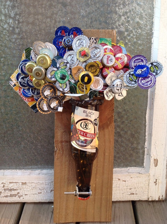 Beer bottle cap flower arrangement wall hanging for How to make bottle cap flowers