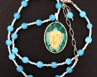 Sea Turtle beaded choker necklace | ostrich eggshell jewelry