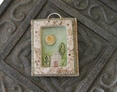 Pendant Tiny Landscape Tree House Polymer Clay Pale Blue Green White Yellow Sun Michele Gabriel Studios