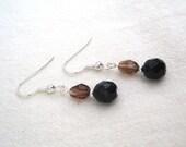 Brown and Black Beaded Earrings