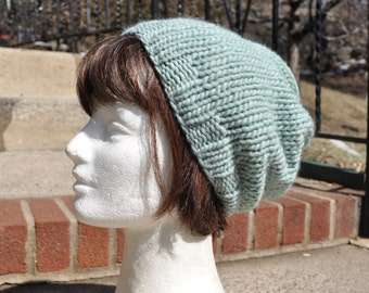 Light Blue Knit Hat - Wool Ribbed Knit Slouch Hat - Unisex