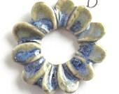 Ceramic Pendant Daisy Donut in Blue Green