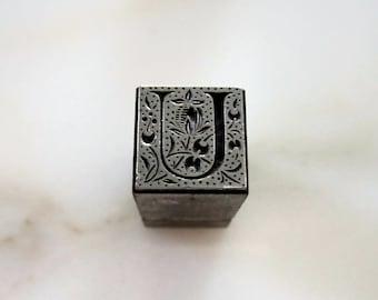 Vintage Letterpress Printers Block Metal Ornamental Initial U