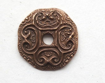 Handmade Copper Clay Pendant, One Hole Button or  Focal Mary Harding
