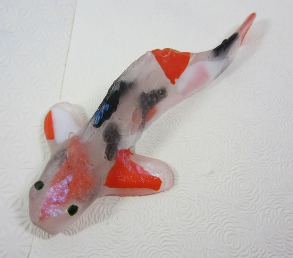 Large cast glass koi fish orange black clear by mccraystudios for Blue and orange koi fish