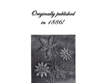 Victorian Mountmellick Embroidery Stitches Book 1886 DIY Embroider Elegant Fowers Florals Linens Clothing Aesthetic Eastlake Steampunk Era