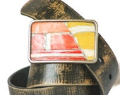 Red Orange Belt Buckle Metal Mosaic Vintage License Plate Recycled Rustic Urban For Men or Women Handmade One Of A Kind Mens Fashion Art