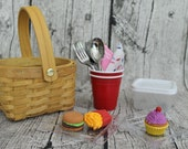 """Picnic Basket for AG Doll 18"""" Doll Picnic Lunch"""