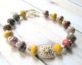 Gemstone Bracelet - Mookaite Beaded Bracelet - Mustard and Burgundy - Silver and Mookaite