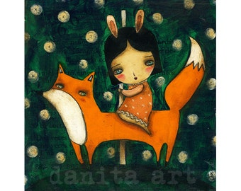 Riding My Fox  - Giclee Reproduction Of Original Mixed Media Painting Of A Bunny Girl And Fox by Danita Art (Paper Print & ACEO Wood Mount)