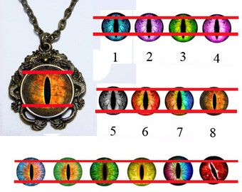 Glass Eye Pendant - Double Dragon - Pick your Eyeball Design with 20 inch Chain
