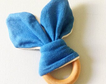 Organic Baby Wooden Teething Ring - Natural Wood Teether - Hemp Organic Cotton Jersey Blue bunny ears