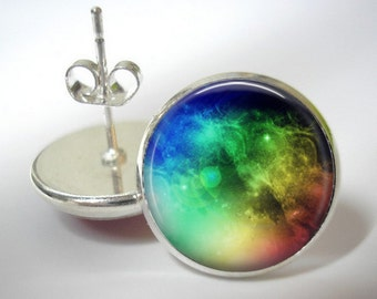 Space Rainbow - Button Stud Earrings - Silver Finish - Matching Pendant Available