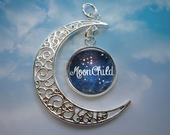 NEW - Crescent Moon Pendant with Image Charm - Moon Child Pendant Necklace - Optional Chain in 3 Lenghts