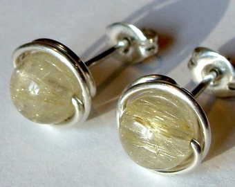 Rutilated Quartz Studs Rutilated Studs Post Earrings Wire Wrapped in Sterling Silver Stud Earrings Studs
