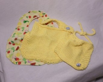 Knit Infant Bib Set 100% Cotton Yellow - 3 piece set