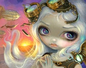 Windswept steampunk fairy art print by Jasmine Becket-Griffith 8x10 airship goggles