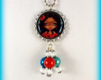 """Jasmine Becket-Griffith  """" Red Hibiscus Fairy """"  necklace"""