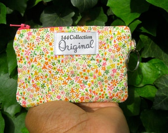 Eve Lime Green Quilted Wallet, Liberty of London Fabric Keychain Wallet, Keyring Wallet, Small Floral Wallet, Quilted Coin Wallet