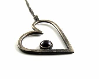 Sterling Silver and Garnet Heart Pendant