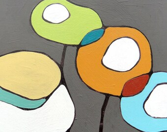 Poppies on Gray - Canvas Print 24 x 24