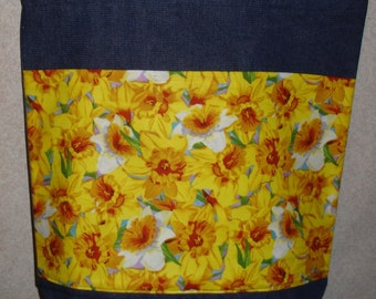 New Handmade Large Daffodil Spring Flowers Denim Tote Bag