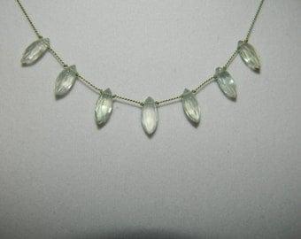 Prehnite Briolettes on Silk Cord Gemstone Necklace