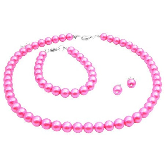 NS982 Hot Pink Pearl Jewelry Set Wedding Color Necklace Earrings And Bracelet Set Free Shipping In US