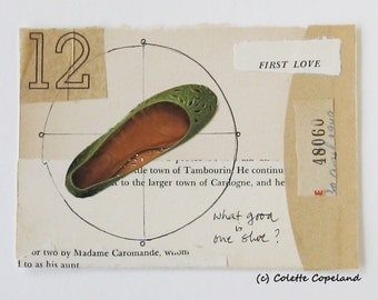 Original collage on paper, postcard collage, green shoe, first love