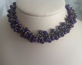 Purple Beaded Shaggy Loops Chainmail Bracelet