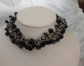 Black Glass Bead and Stainless Steel Chainmail Bracelet