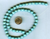 "NEW 7-8mm Beautiful Magnesite Blue-Green Turquoise Round Beads 16"" Strand"