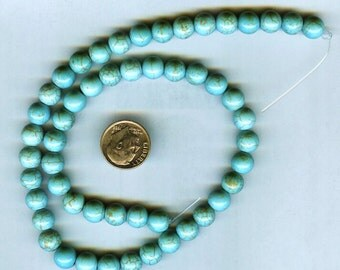 "NEW 10mm Beautiful Magnesite Blue-Green Turquoise Round Beads 16"" Strand"