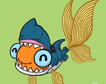 Goldfish in a Shark Costume 12x12 Giclee Print
