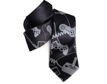 "Video game necktie. ""Control Freak."" Gaming console controller, 100% silk tie. Geek chic gaming gift. Joystick screen print."