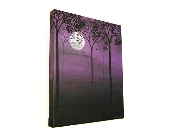 Moonlit Forest acrylic painting - original art of tree silhouettes under a full moon in a purple night sky. Night scene with bats