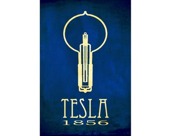 Tesla 24x36 Science Poster, Steampunk Nikola Tesla Art Print - Rock Star Scientist Educational Poster, Light Bulb Geek Chic Decor