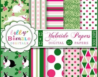 40% off Christmas digital scrapbook papers rabbit scrapbooking paper YULETIDE Instant Download