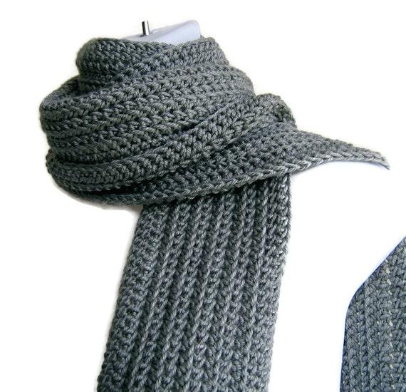 Classic Grey Scarf Gray Crochet Men Unisex Gift GABLE Ready to Ship