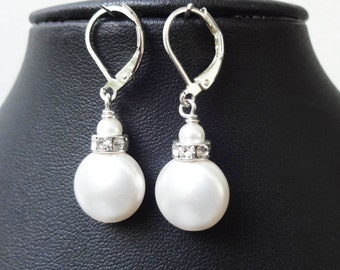 Coin Pearl Wedding Bridal Earrings, Swarovski Pearl & Rhinestone Wedding Earrings, Dangly Pearl Drop Earrings, HEAVENLY
