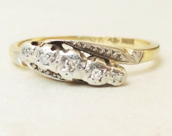 Art Deco Diamond Eternity Ring, Antique Twist Over Setting 18k Gold Diamond Engagement Ring Approx. Size US 7.5