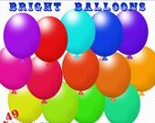 Balloons Clip Art Pack, 49 PNG Balloon Graphics, Digital Scrapbooking, Glitter Flowers, Balloon Clipart, Cute Clipart, Party Balloons Art