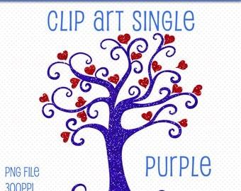 Clip Art Single | Glitter Heart Tree Clip Art | Purple Glitter Tree | Glitter Graphics | Glitter Clipart | Digital Scrapbooking PNG Element