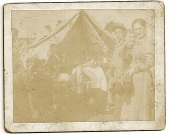 outdoor tent image antique photo circus performer camping characters