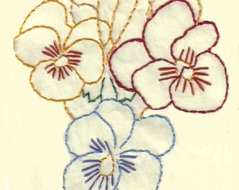 Set of Emroidered Handmade Special Pansy Greeting Cards