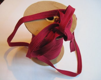 vintage cotton braided binding in cranberry 6 yards