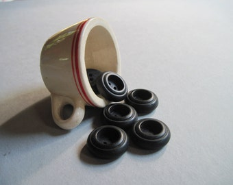 black vintage chunky buttons set of 6