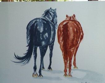 Resting Horses Tail Swoosh Hoof Up Rear View Horse Watercolor Art Original Painting by Equine Artist debra alouise