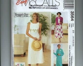 McCall's Misses' /Miss Petite Dress and Unlined Jacket  Pattern 3564