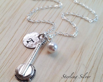 Personalized Banjo Charm Necklace, Hand Stamped Initial Jewelry, Sterling Silver Banjo Necklace, Banjo Player Gift, Personalized Gift